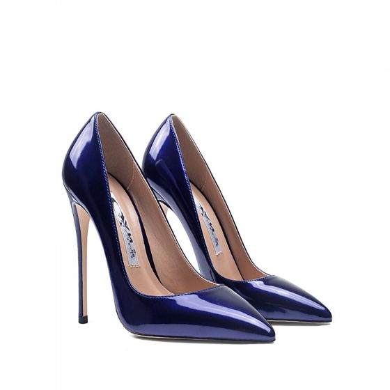 Chic / Beautiful Royal Blue Evening Party Pumps 2020 Patent Leather 12 cm Stiletto Heels Pointed Toe Pumps