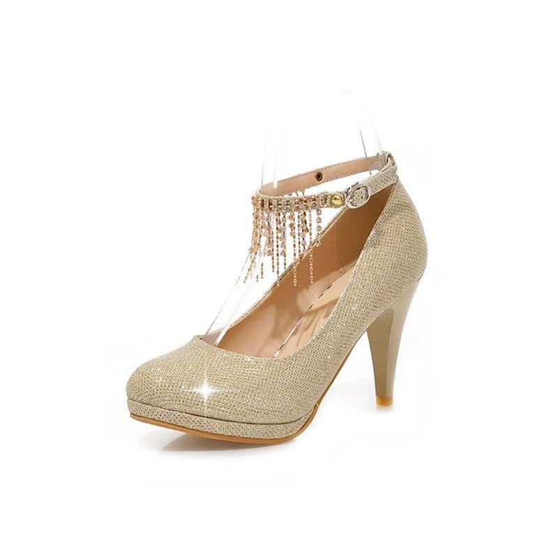 Chaussures Brillant Strass Talons Talon Aiguille Escarpins Or Femmes rdoWexCB