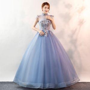 Elegant Sky Blue Prom Dresses 2020 Ball Gown High Neck Pearl Lace Flower Sleeveless Backless Floor-Length / Long Formal Dresses