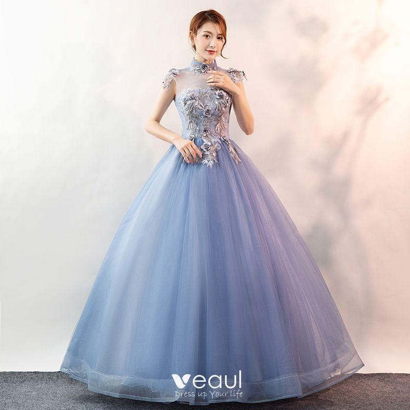 Elegant Sky Blue Prom Dresses 2020 Ball Gown High Neck Pearl