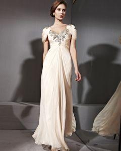 Floor Length Tencel Zipper V-Neck Puff Sleeve Evening Dresses