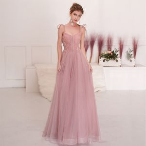 Chic / Beautiful Blushing Pink Evening Dresses  2019 A-Line / Princess Spaghetti Straps Bow Beading Sequins Sleeveless Backless Floor-Length / Long Formal Dresses