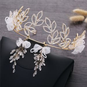 Elegant Gold Wedding Bridal Jewelry 2019 Metal Flower Rhinestone Tiara Crystal Earrings Accessories