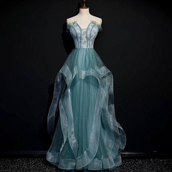 Best Sage Green Dancing Prom Dresses 2020 A-Line / Princess Strapless Sleeveless Beading Floor-Length / Long Ruffle Backless Formal Dresses