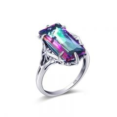 Amazing / Unique Multi-Colors Band Ring Crystal Leaf Silver Plated Synthetic Gemstones Evening Party 2019 Accessories Ring