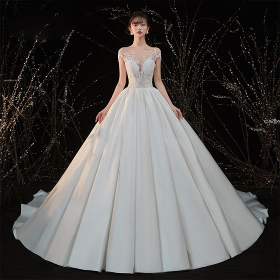 Illusion Ivory Satin Bridal Wedding Dresses 2020 Ball Gown See-through Scoop Neck Short Sleeve Backless Appliques Lace Beading Cathedral Train