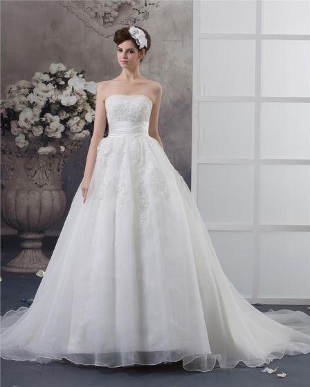 Strapless Beading Golv Langd Satin Balklänning Brudklänningar Bröllopsklänningar