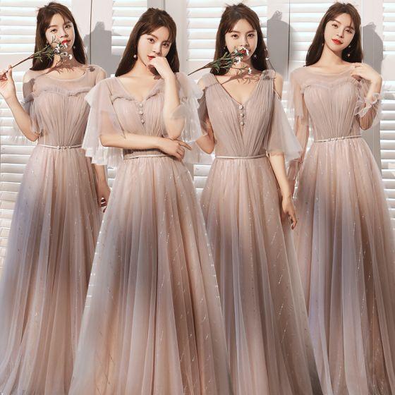 Modest / Simple Blushing Pink Sequins Bridesmaid Dresses A-Line / Princess 2021 V-Neck Short Sleeve Backless Floor-Length / Long Wedding Party Dresses