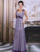 2015 Elegant Empire Shoulders Purple Lace Evening Dress Party Dress