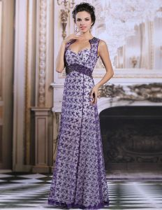2015 Elegant Empire Shoulders Purple Lace Evening Dress Party Dress