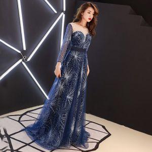 30f9843b58 Gwiaździste Niebo Granatowe Przezroczyste Sukienki Wieczorowe 2019  Princessa Wycięciem 3 4 Rękawy Rhinestone Cekinami Tiulowe