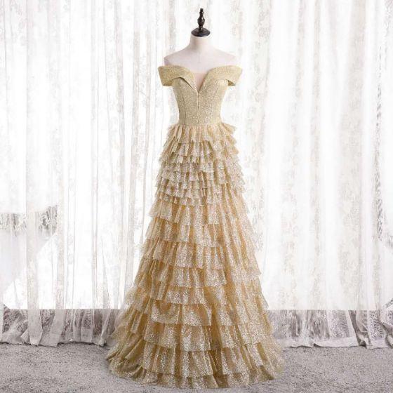 Glitzernden Sexy Gold Rüschen Abendkleider 2021 A Linie Off Shoulder Pailletten Kurze Ärmel Rückenfreies Lange Festliche Kleider