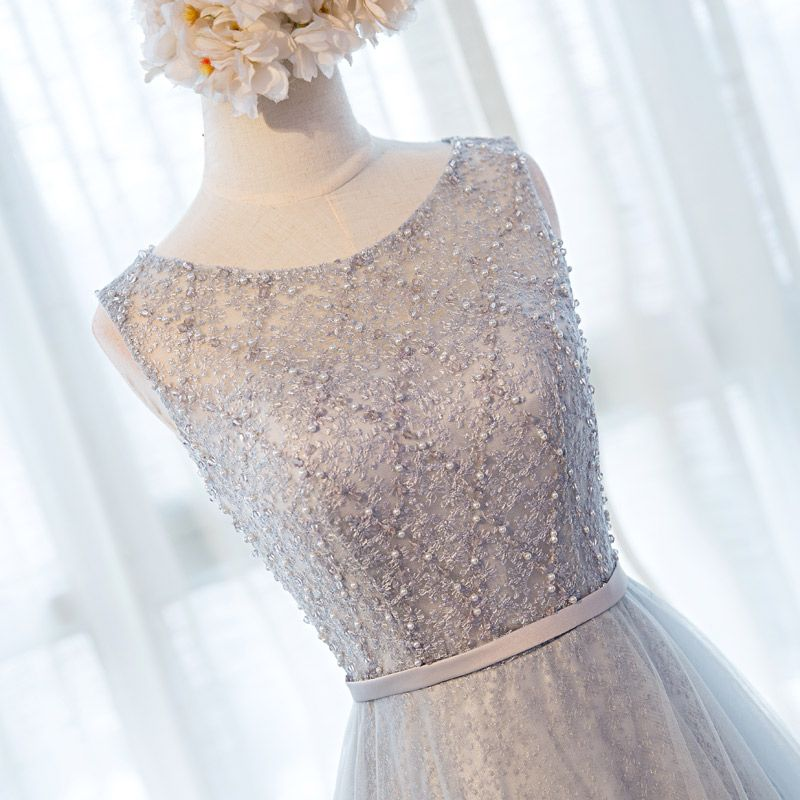 Chic / Beautiful Hall Formal Dresses 2017 Evening Dresses  Grey Floor-Length / Long A-Line / Princess Cascading Ruffles Sash Scoop Neck Sleeveless Backless Lace Appliques Beading Pearl