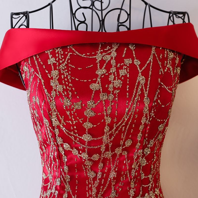 Luxury / Gorgeous Red Formal Dresses Evening Dresses  2017 Sequins Square Neckline Sleeveless Sweep Train Trumpet / Mermaid