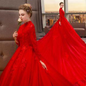 Chinesischer Stil Muslimisches Rot Brautkleider / Hochzeitskleider 2019 A Linie Stehkragen Perlenstickerei Applikationen Spitze Blumen Lange Ärmel Königliche Schleppe