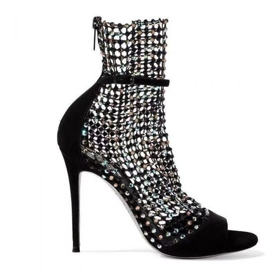 Charming Black Cocktail Party Rhinestone Womens Sandals 2020 Leather 10 cm Stiletto Heels Open / Peep Toe Sandals