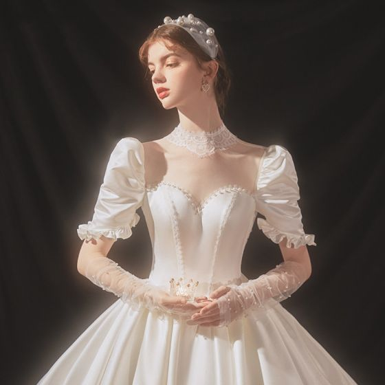 Luxury / Gorgeous Ivory Satin Bridal Wedding Dresses 2020 Ball Gown See-through High Neck Puffy Short Sleeve Backless Appliques Lace Beading Cathedral Train Ruffle