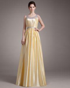 Elegante Sicke Rüschen Scoop Bodenlang Charmeuse Abendkleid