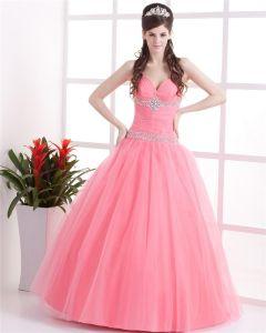 Satin Tulle Halter Beading Ruffle Floor Length Prom Dresses
