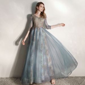 Chic / Belle Bleu D'encre Robe De Soirée 2020 Princesse V-Cou 3/4 Manches Perlage Glitter Tulle Longue Volants Dos Nu Robe De Ceremonie