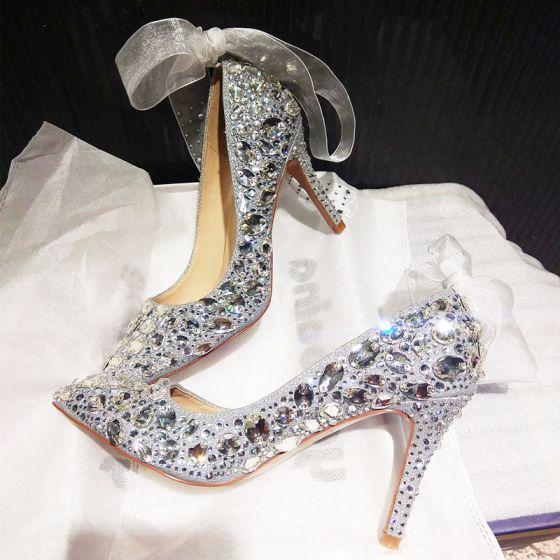 Charmant Argenté Chaussure De Mariée 2019 Noeud Faux Diamant Paillettes 10 cm Talons Aiguilles À Bout Pointu Mariage Escarpins