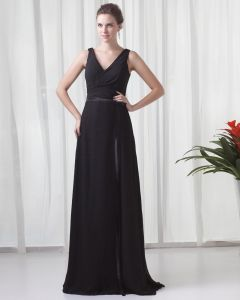 Formal V Neck Floor Length Ribbon Pleated Chiffon Bridesmaid Dress