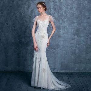 Sexy Beach Ivory Wedding Dresses 2018 Trumpet / Mermaid Spaghetti Straps Sleeveless Backless Beading Ruffle Sweep Train