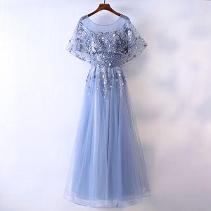 Piękne Ciemnoniebieski Sukienki Wieczorowe 2017 Princessa Frezowanie Perła Z Koronki Kwiat Wycięciem Bez Pleców Kótkie Rękawy Długość Kostki Wieczorowe