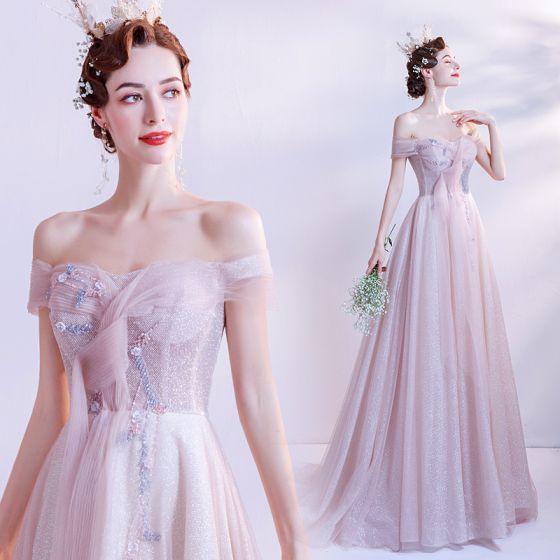 Charmant Rose Bonbon Paillettes Robe De Bal 2021 Princesse De l'épaule Sans Manches Dos Nu Longue Promo Robe De Ceremonie
