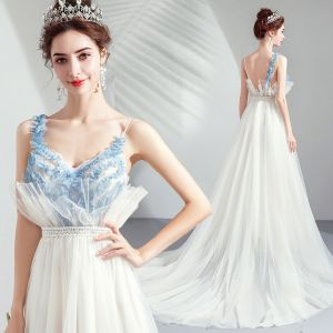 Elegante Ivory / Creme Abendkleider 2019 A Linie Rüschen Spaghettiträger Spitze Ärmellos Rückenfreies Sweep / Pinsel Zug Festliche Kleider