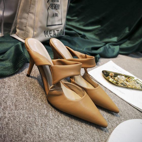 Schlicht Beige Freizeit Sandalen Damen 2020 8 cm Stilettos Spitzschuh Sandaletten