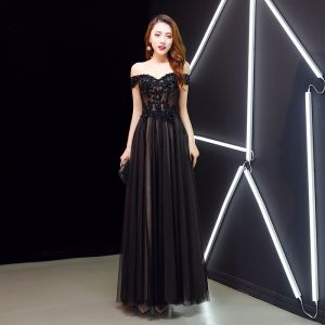 Charming Black Evening Dresses  2019 A-Line / Princess Off-The-Shoulder Crystal Lace Flower Short Sleeve Backless Floor-Length / Long Formal Dresses