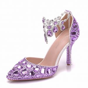 Charming Lilac Wedding Shoes 2018 Crystal Ankle Strap 9 cm Stiletto Heels Pointed Toe Wedding High Heels
