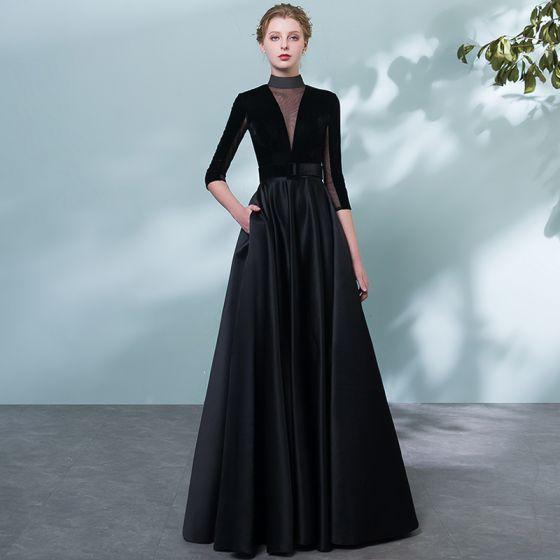 Elegante Schwarz Abendkleider 2018 A Linie Stoffgürtel Durchbohrt Stehkragen Rückenfreies 1/2 Ärmel Lange Festliche Kleider