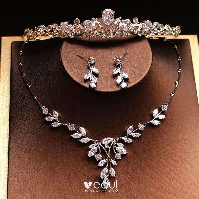 Modest Simple Silver Bridal Jewelry 2019 Metal Rhinestone Tiara