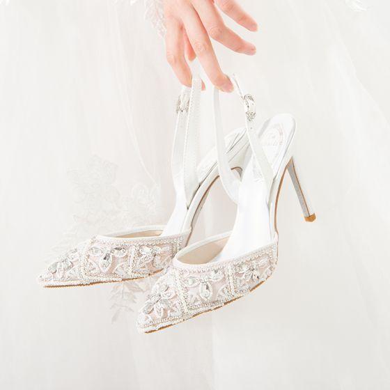 Mode Ivoire Mariage Chaussure De Mariée 2020 Bride Cheville Faux Diamant 10 cm Talons Aiguilles À Bout Pointu Sandales
