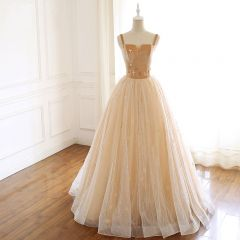 Luxury / Gorgeous Gold Prom Dresses 2019 A-Line / Princess Suede Spaghetti Straps Beading Sleeveless Backless Floor-Length / Long Formal Dresses