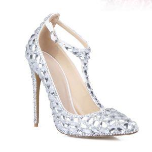 Charmant Argenté Cristal Chaussure De Mariée 2020 Cuir Faux Diamant T-Strap 11 cm Talons Aiguilles Mariage À Bout Pointu Escarpins