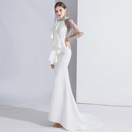 Mode Blanche Robe De Soirée 2020 Trompette / Sirène Encolure Dégagée Perlage Manches Courtes Train De Balayage Robe De Ceremonie