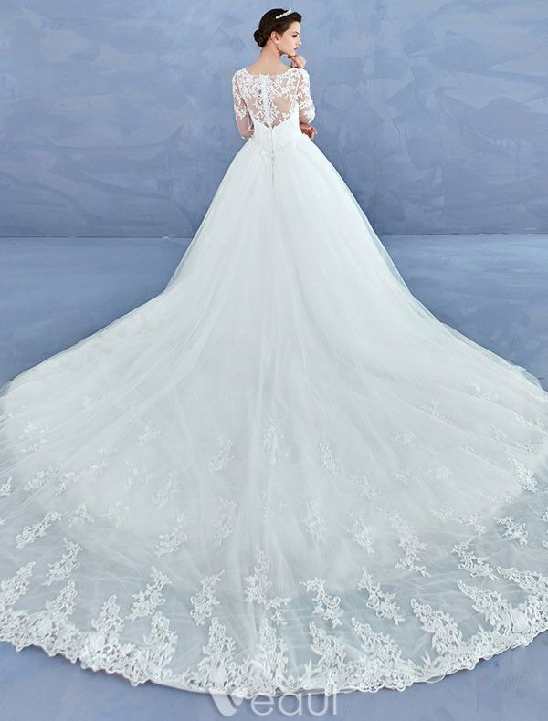 Simple Bridal Gowns 2017 Sweetheart Textured Lace Ruffle Tulle Wedding Dresses With Train