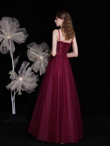Best Burgundy Engagement Prom Dresses 2021 A-Line / Princess Spaghetti Straps Sleeveless Beading Sequins Glitter Tulle Floor-Length / Long Ruffle Backless Formal Dresses
