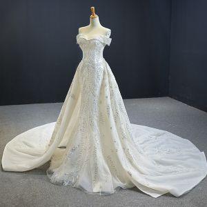 Luxus Ivory Bryllups Brudekjoler 2020 Havfrue Off-The-Shoulder Kort Ærme Halterneck Pailletter Beading Aftagelig Cathedral Train Flæse