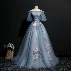 Elegante Hemelsblauw Galajurken 2018 Baljurk Strik Geborduurde Uit De Schouder Korte Mouwen Lange Gelegenheid Jurken