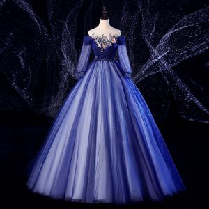 Elegant Navy Blue Prom Dresses 2020 Ball Gown Scoop Neck Beading Pearl Lace Flower 3/4 Sleeve Backless Floor-Length / Long Formal Dresses