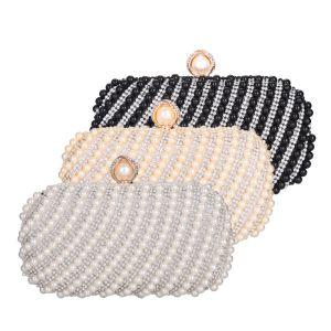 Chic / Beautiful Square Clutch Bags 2020 Metal Pearl Rhinestone