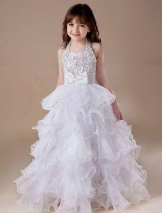 White A-line Square Satin Floor Length Flower Girl Dress