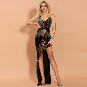 Sparkly Black Sequins Evening Dresses  2020 Trumpet / Mermaid Spaghetti Straps Sleeveless Asymmetrical Backless Formal Dresses