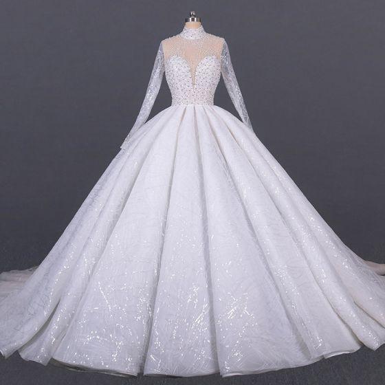 Luxus Hvide Bryllups Gennemsigtig Brudekjoler 2020 Balkjole Høj Hals Langærmet Håndlavet Beading Pailletter Cathedral Train Flæse
