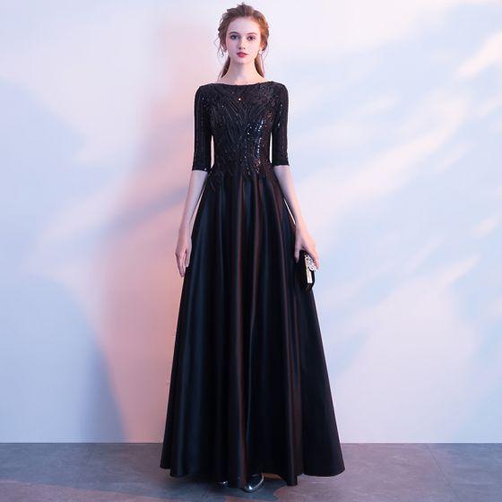 Proste / Simple Czarne Długie Sukienki Wieczorowe 2018 Princessa Charmeuse U-Szyja Frezowanie Cekiny Wieczorowe Sukienki Wizytowe