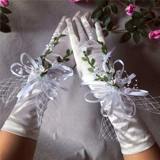Wróżka Kwiatowa Białe Rękawiczki Ślubne 2020 Liść Aplikacje Perła Tiulowe Bal Ślub Akcesoria